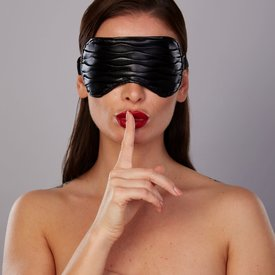 Allure Ruched Faux Leather Eye Mask