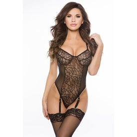 Allure Galloon Lace Teddy with Garters