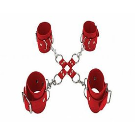 Shots Adjustable Leather Hand and Leg Cuffs - Red