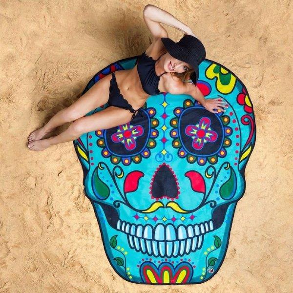 Big Mouth Sugar Skull Beach Blanket