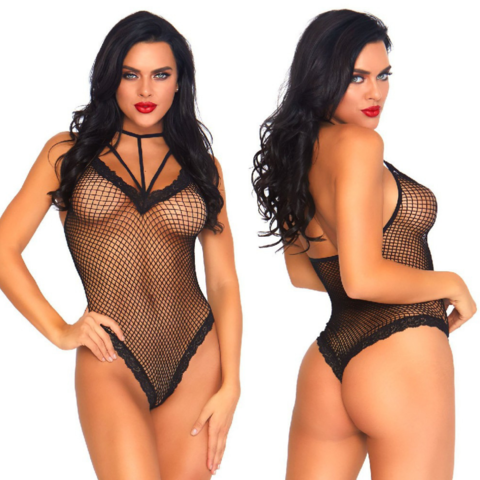 Fishnet Cage Strap Thong Back Teddy