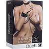 Ouch Leather Collar and Cuffs - Black