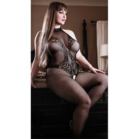 Fantasy Lingerie Back To Black Lace Bodystocking - Curvy