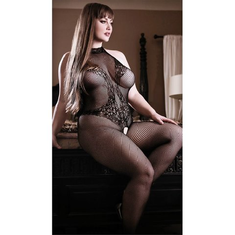 Back To Black Lace Bodystocking - Curvy