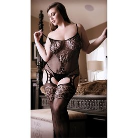 Fantasy Lingerie Gartered Mesh and Lace Bodystocking - Curvy