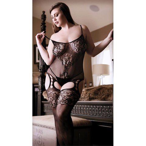 Gartered Mesh and Lace Bodystocking - Curvy