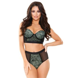 Fantasy Lingerie Chartreuse Longline Bra and Panty Set