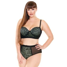 Fantasy Lingerie Chartreuse Longline Bra and Panty Set - Curvy