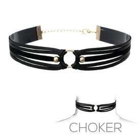 Groove Suede and Leather Three Strap Choker