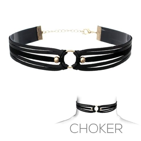 Suede and Leather Three Strap Choker