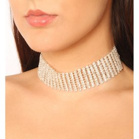 Groove Stretchy Nine-Row Choker Silver