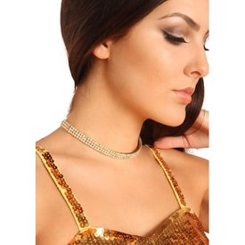 Groove Three-Row Stretchy Rhinestone Choker - Silver
