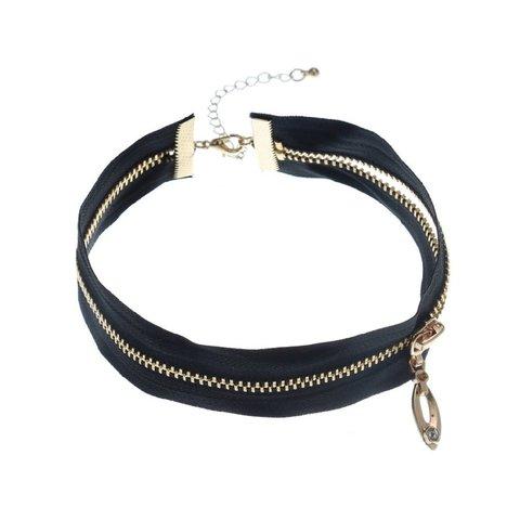 Black Choker With Zipper