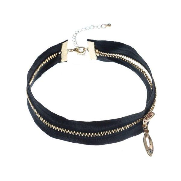 Groove Black Choker With Zipper