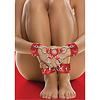 Adjustable Leather Hand and Leg Cuffs - Red