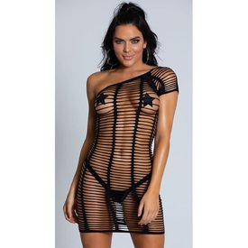 Beverly Hills Naughty Girl Shredded One Shoulder Seamless Dress