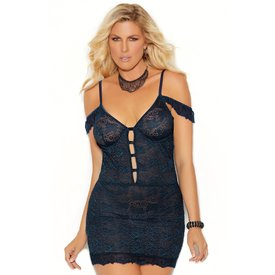 Elegant Moments Midnight Blue Off Shoulder Chemise - Curvy