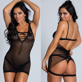 Beverly Hills Naughty Girl Strappy Back Full Fishnet Dress