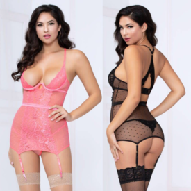 Seven 'til Midnight Lace Dot and Mesh Chemise