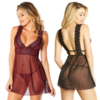 Mesh and Lace Empire Waist Babydoll