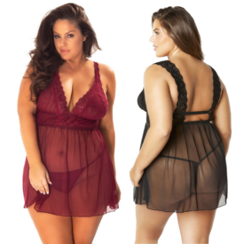 Oh La La Cheri Mesh and Lace Empire Waist Babydoll - Curvy