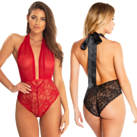 Mesh Plunge Halter Teddy - One Size Fits Most