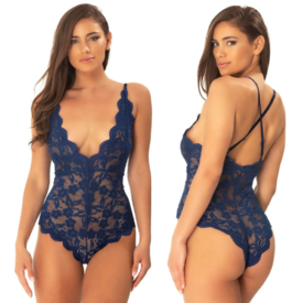 Oh La La Cheri Estate Blue Scalloped Floral Lace Romper