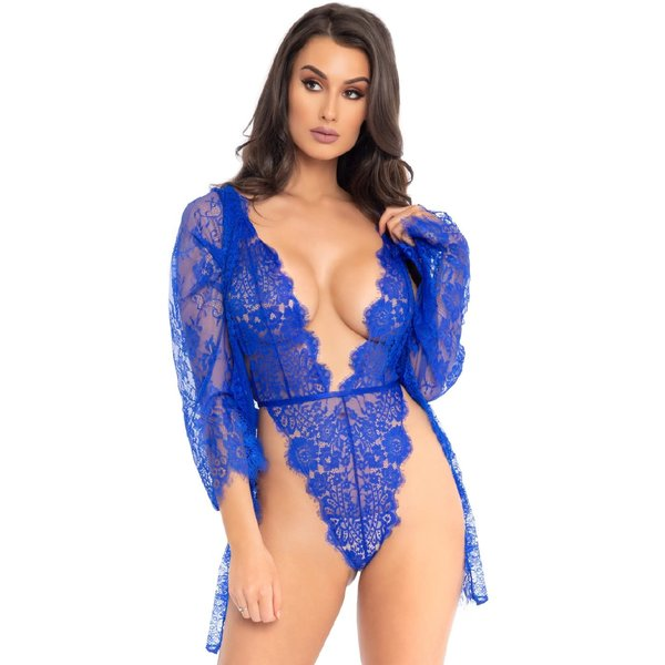 Leg Avenue Floral Lace Teddy and Robe Set