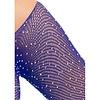 Crystalized Long Sleeve Fishnet Bodysuit - Blue