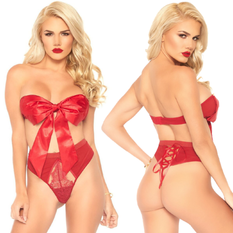 Naughty Gift Ribbon Bow Two Piece Set