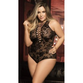 Mapale Sheer Plunging Lace-Up Teddy - Curvy