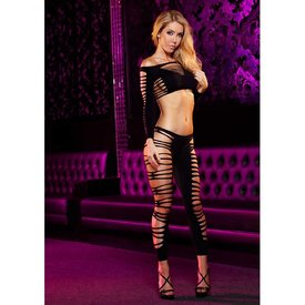 Lapdance Sexy Slitted Crop Top and Pant Set