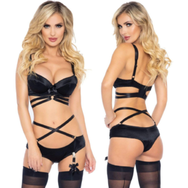 Leg Avenue Strappy Satin Bra Set