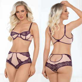 Escante Plum Lace and Mesh Bra and Keyhole Panty Set