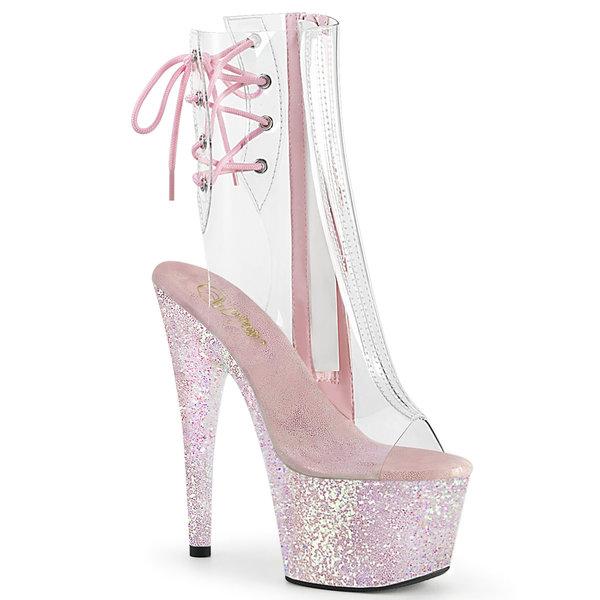 """Pleaser 7"""" Glitter Stiletto Heel Platform Open Toe/Heel Lace Up Back"""