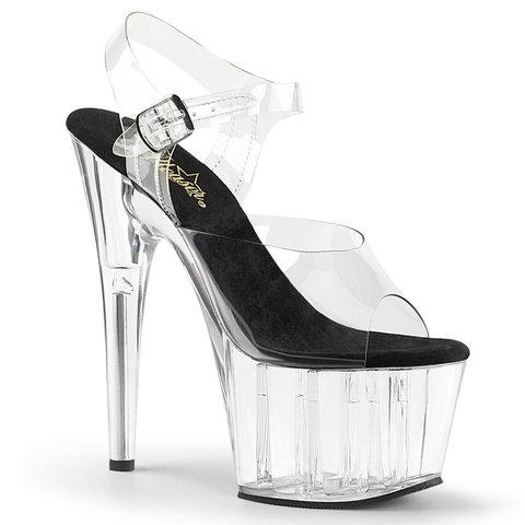 """7"""" Spike Heel Black Insole Clear Platform Ankle Strap Sandal"""