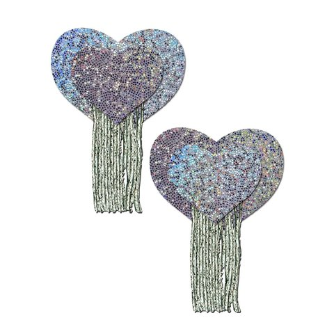 Silver Glitter Heart Pasties with Tassels
