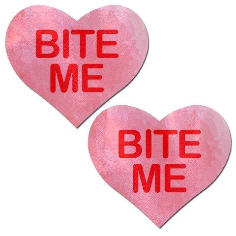 """""""Bite Me"""" Pink Heart Pasties"""