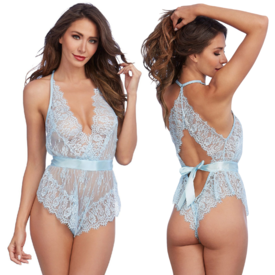 Dreamgirl Bow Back Eyelash Lace Romper - Light Blue