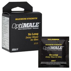 Doc Johnson Optimale - So Long Delay Wipes for Men 10-Pack
