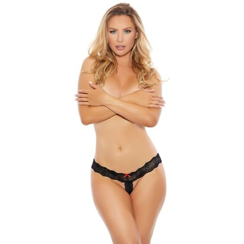 Barely There Lace and Bows Crotchless Thong - Curvy