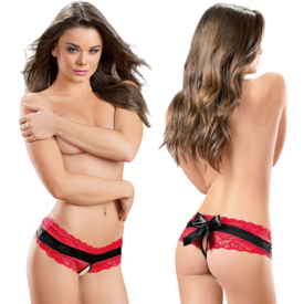 Escante Crotchless Lace and Satin Bow Panty