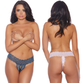 Popsi Lace and Bows Crotchless Thong - One Size Fits Most
