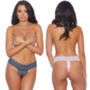 Lace and Bows Crotchless Thong - Curvy