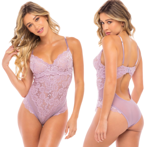 Keyhole Back Lace and Mesh Teddy