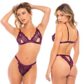 Oh La La Cheri Soft Cup Cutout Lace Bra and Crotchless Panty Set - One Size Fits Most