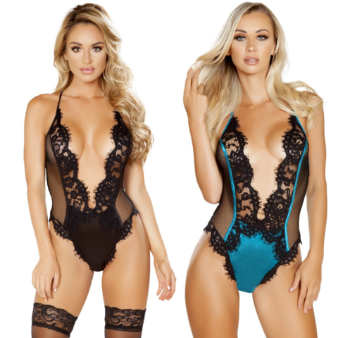 Deep-V Eyelash Lace and Satin Teddy