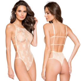 Roma Nude Sheer Floral Mesh Strappy Back Teddy