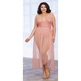 Dreamgirl Mosiac Mesh Teddy with Mesh Skirt - Vintage Rose - Curvy