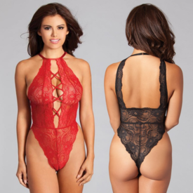 Be Wicked High Neck Criss-Cross Front Lace Teddy